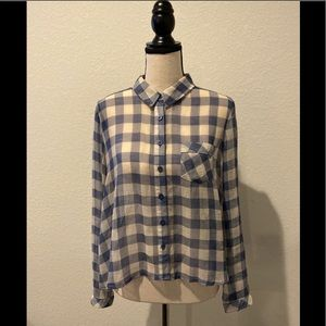 Free People Cropped Plaid Button Down in Blue